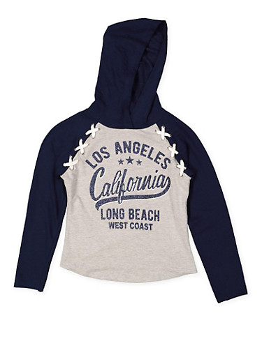 Girls 7-16 Glitter Graphic Hooded Top,NAVY,large