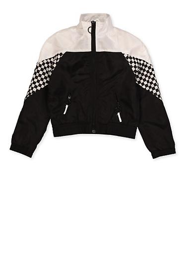 Girls 7-16 Checkered Detail Windbreaker Jacket,BLACK/WHITE,large