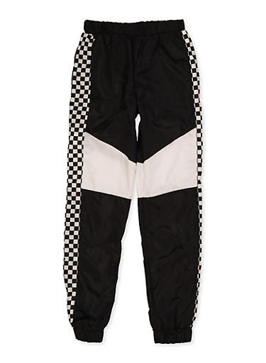 Girl 7-16 Checkered Trim Windbreaker Joggers,BLACK/WHITE,large
