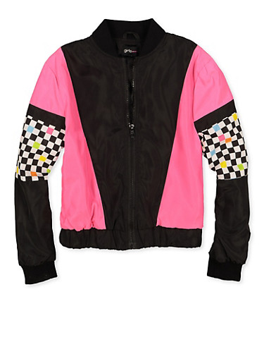 Girls 7-16 Checkered Color Block Windbreaker Jacket,NEON PINK,large