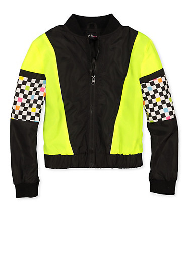 Girls 7-16 Checkered Color Block Bomber Jacket,NEON YELLOW,large