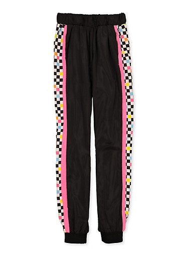 Girls 7-16 Checkered Color Block Joggers,NEON PINK,large