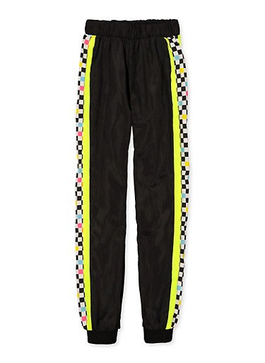 Girls 7-16 Checkered Color Block Windbreaker Joggers,NEON YELLOW,large