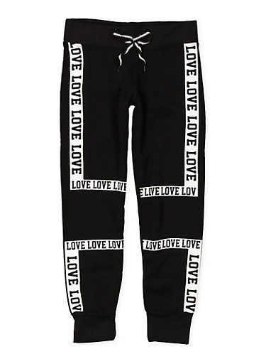 Girls 7-16 Love Graphic Joggers,BLACK,large