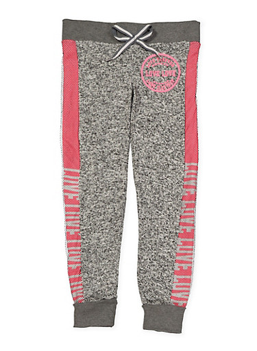 Girls 7-16 Two Tone Love Graphic Sweatpants,CHARCOAL,large