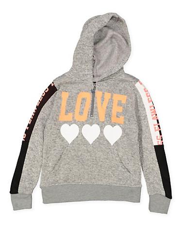Girls 7-16 Graphic Half Zip Hooded Sweatshirt,GRAY,large
