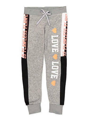 Girls 7-16 Graphic Sweatpants,GRAY,large