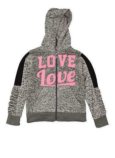 Girls 7-16 Love Graphic Knit Sweatshirt,CHARCOAL,large