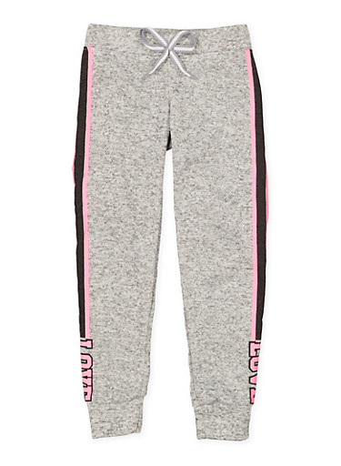 Girls 7-16 Love Graphic Joggers | 3631063400158,CHARCOAL,large