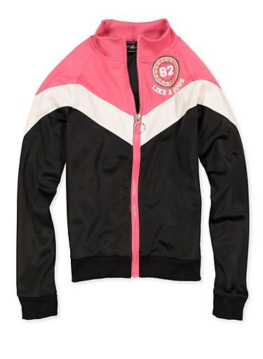 Girls 7-16 Graphic Color Block Track Jacket,BLACK,large