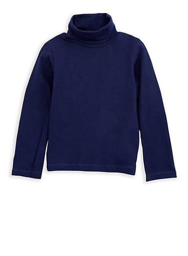 Girls 4-6x Basic Long Sleeve Turtleneck Top,NAVY,large