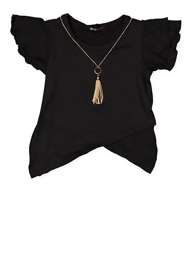 Girls 4-6x Asymmetrical Hem Top with Necklace,BLACK,large