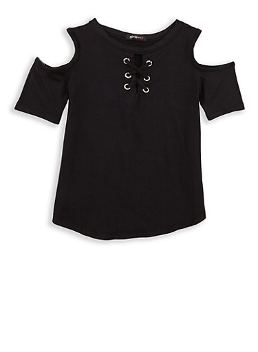 Girls 4-6x Lace Up Cold Shoulder Top,BLACK,large