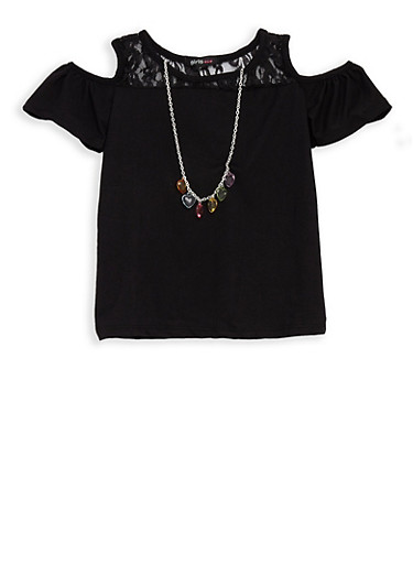 Girls 4-6x Lace Trim Cold Shoulder Top with Necklace,BLACK,large
