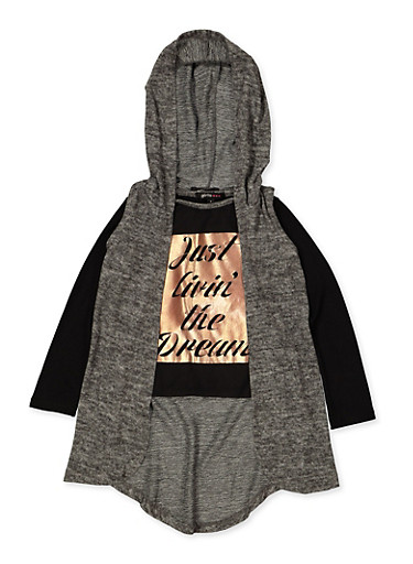 Girls 4-6x Just Livin the Dream Tee with Hooded Vest,CHARCOAL,large