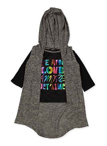 Girls 4-6x Te Amo Tee with Hooded Vest,CHARCOAL,large