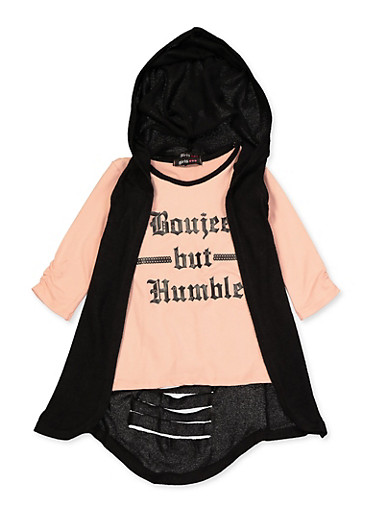 Girls 4-6x Boujee But Humble Tee and Hooded Duster,BLACK,large