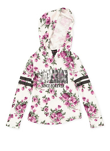 Girls 4-6x Hooded Graphic Floral Top,IVORY,large
