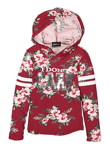 Girls 4-6x Floral Sequin Graphic Hooded Top,WINE,large