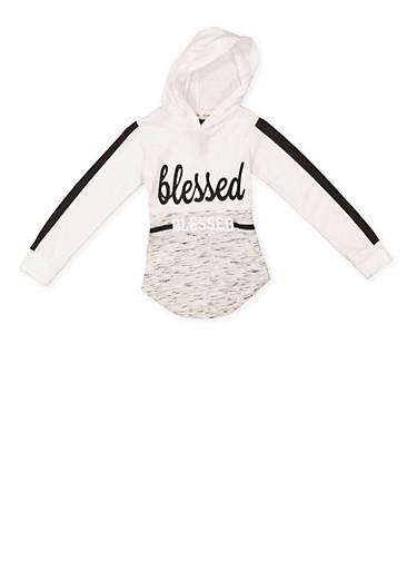 Girls 4-6x Blessed Graphic Hooded Top,HEATHER,large
