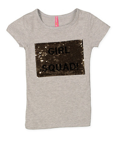 Girls 4-6x Reversible Sequin Graphic Tee,GRAY,large