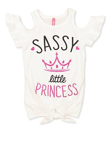 Girls 4-6x Sassy Little Princess Cold Shoulder Top,IVORY,large