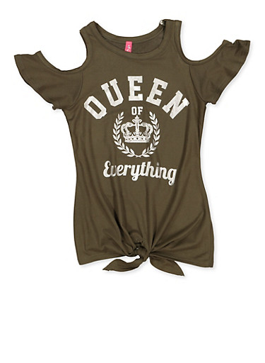 Girls 4-6x Queen of Everything Cold Shoulder Top,OLIVE,large