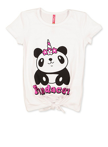 Girls 4-6x Pandacorn Graphic Tee,WHITE,large