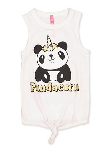 Girls 4-6x Pandacorn Graphic Tank Top,WHITE,large