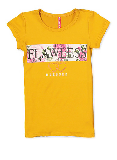 Girls 4-6x Flawless Blessed Graphic Tee,MUSTARD,large
