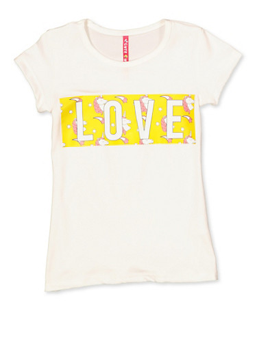 Girls 4-6x Love Unicorn Graphic Tee,IVORY,large