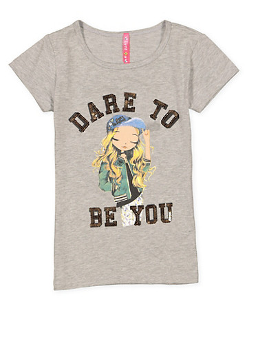 Girls 4-6x Sequin Graphic Tee,HEATHER,large