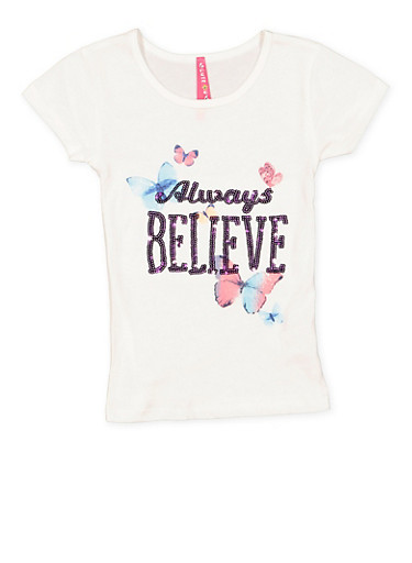 Girls 4-6x Always Believe Sequin Graphic Tee,IVORY,large