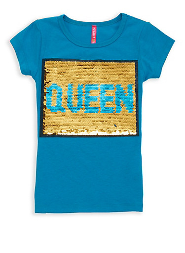 Girls 4-6x Reversible Sequin Graphic Tee,TEAL,large
