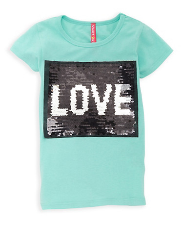 Girls 4-6x Reversible Sequin Love Tee,MINT,large