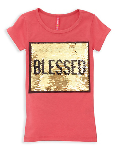 Girls 4-6x Blessed Reversible Sequin Tee,CORAL,large