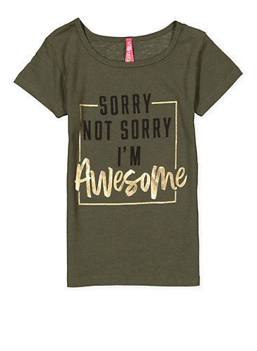 Girls 4-6x Awesome Graphic Tee,OLIVE,large