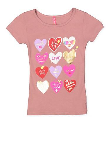 Girls 4-6x Heart Graphic Tee,MAUVE,large