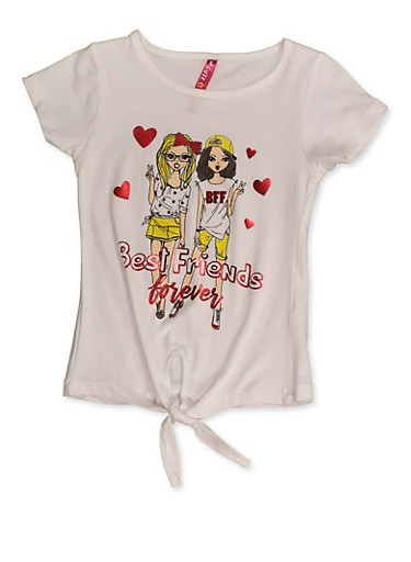 Girls 4-6x Best Friends Forever Tee,WHITE,large