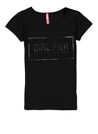 Girls 4-6x Graphic 3D Foil Print Tee,BLACK,large