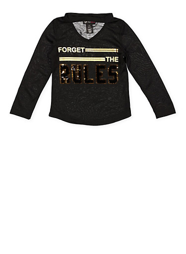 Girls 4-6x Forget the Rules Reversible Sequin Tee,BLACK,large