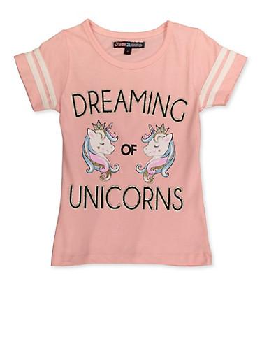 Girls 4-6x Dreaming of Unicorns Graphic Tee,BLUSH,large