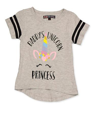 Girls 4-6x Daddys Unicorn Princess Tee,HEATHER,large