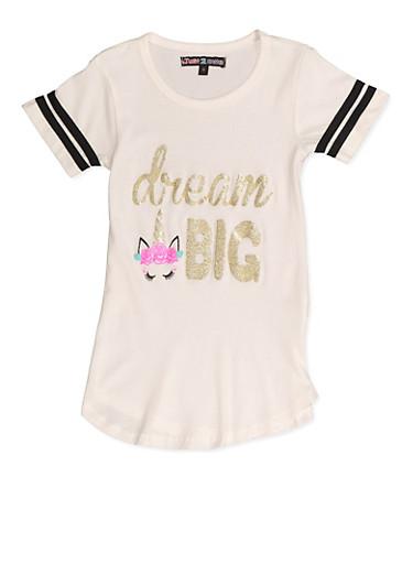Girls 4-6x Dream Big Unicorn Graphic Tee,IVORY,large