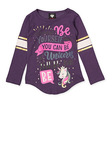 Girls 4-6x Unicorn Graphic Tee,PURPLE,large