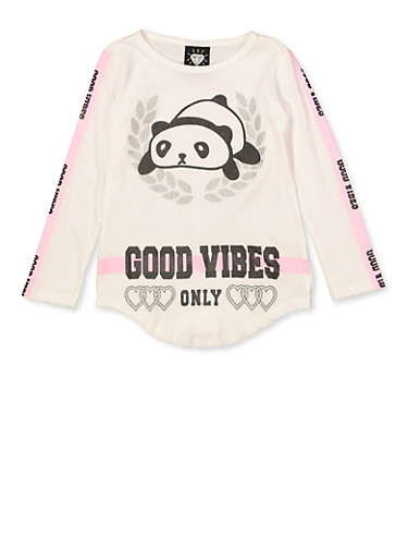 Girls 4-6x Good Vibes Only Panda Graphic Tee,IVORY,large