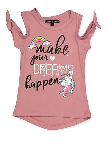 Girls 4-6x Make Your Dreams Happen Top,MAUVE,large
