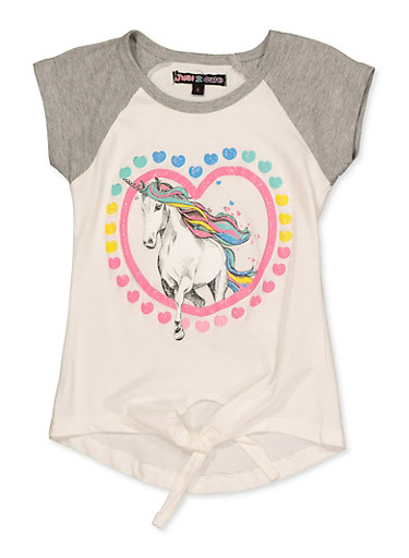 Girls 4-6x Glitter Unicorn Heart Tee,IVORY,large