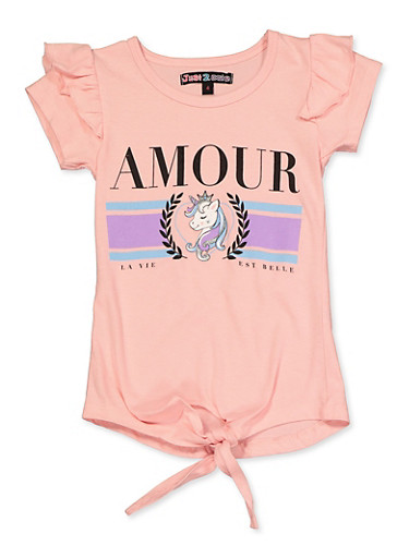 Girls 4-6x Ruffled Amour Graphic Tie Front Top,BLUSH,large