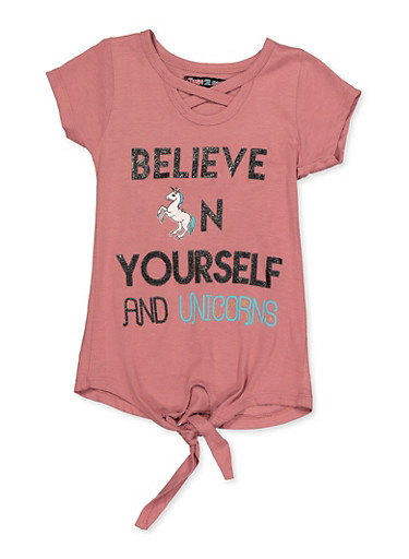 Girls 4-6x Believe In Yourself and Unicorns Top,MAUVE,large